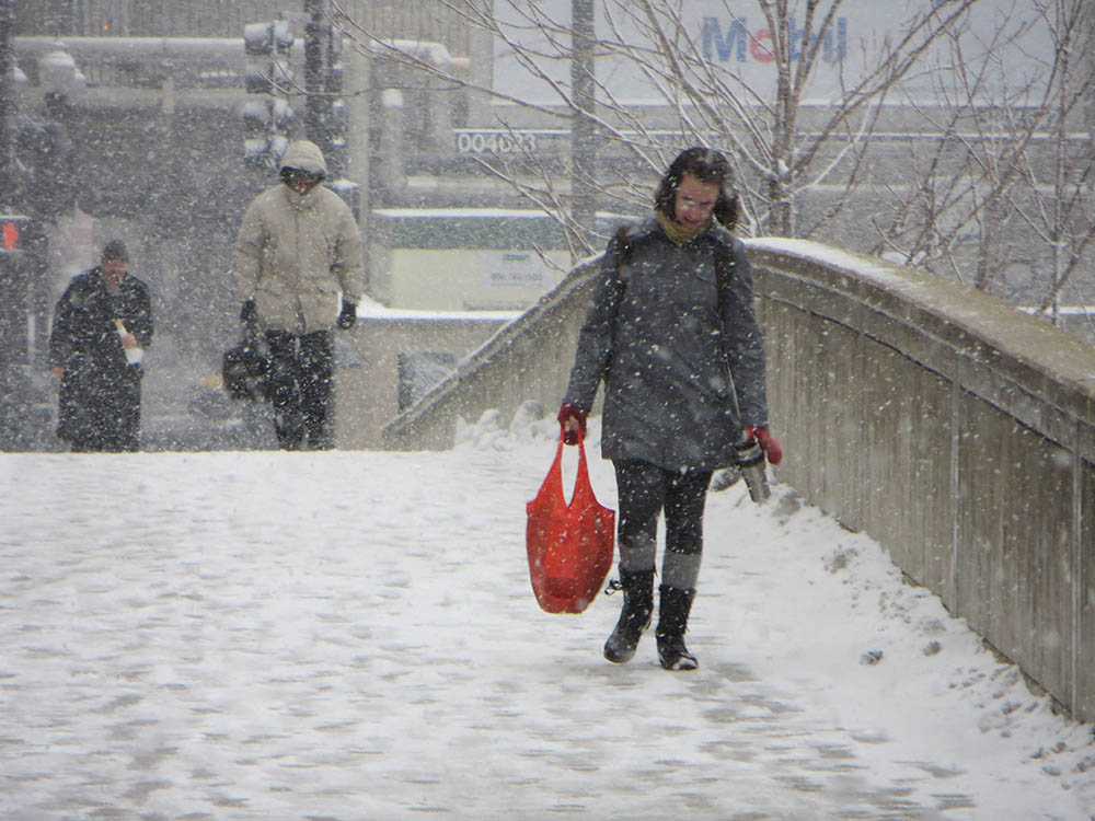 people walinking in Chicago snows