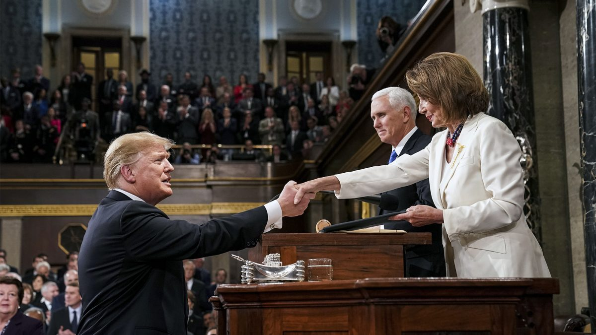 President Donald Trump shakes hands with House Speaker Nancy Pelosi