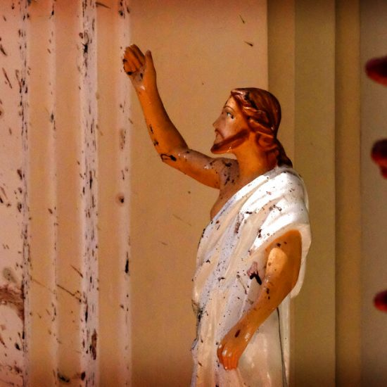 Blood stains a Jesus Christ statue