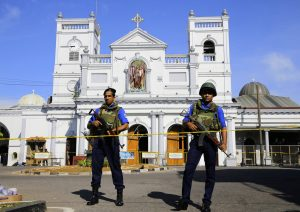 Sri Lankan Navy soldiers stand guard