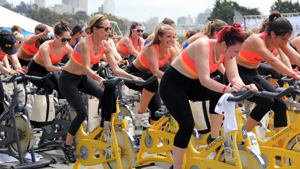 Women in a Soulcycle class