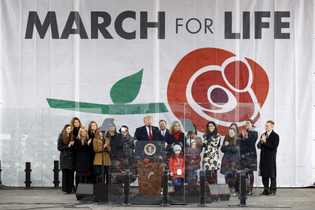President Donald Trump speaks at a March for Life rally