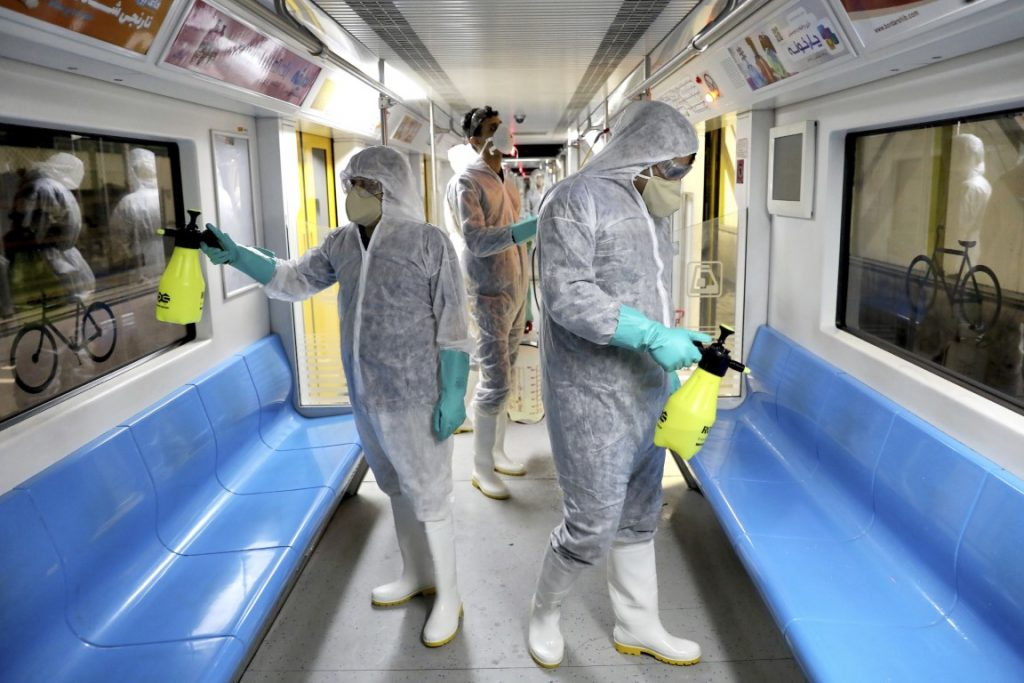 disinfecting trains in Iran