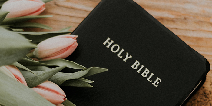 Bible with lilies