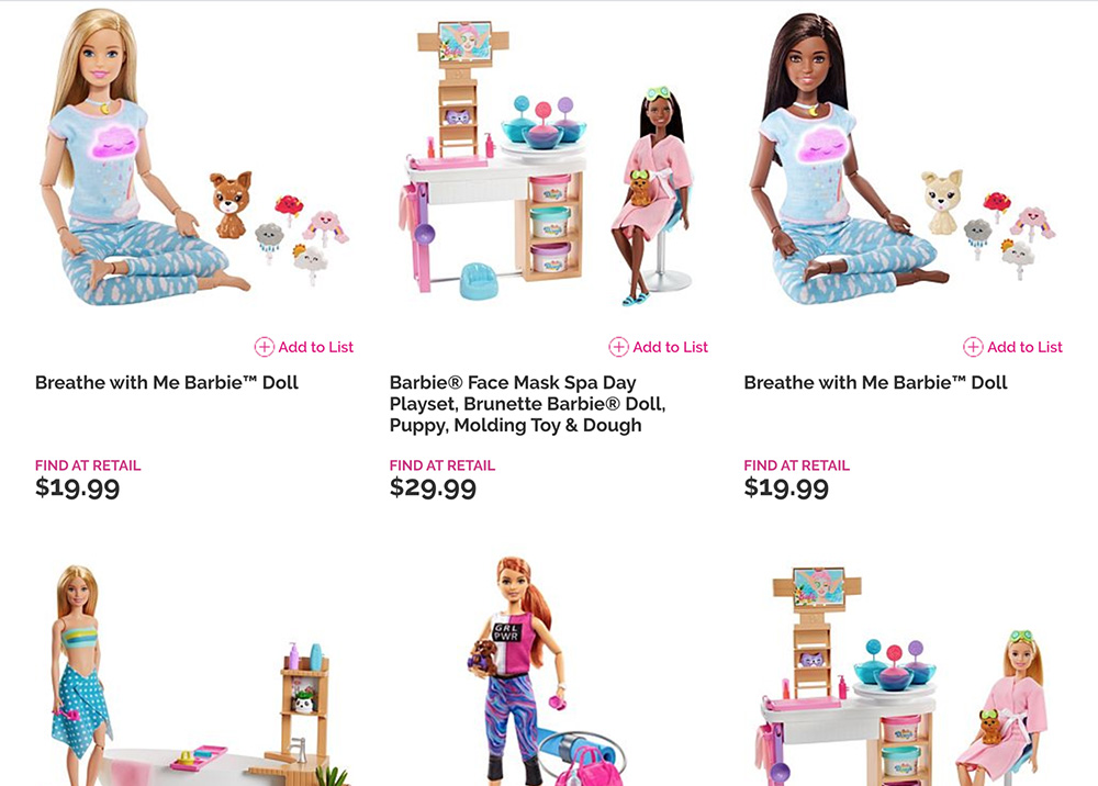 variety of the new Barbie Wellness doll options