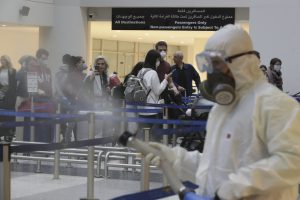 Protective spray in Lebanon airport