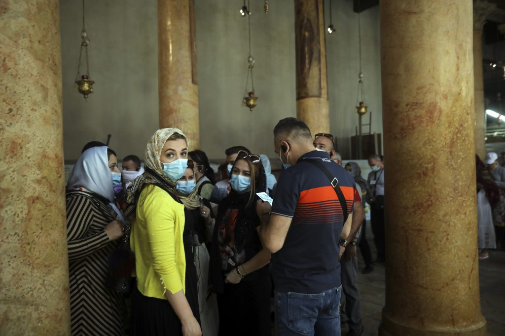 People visit the Church of the Nativity