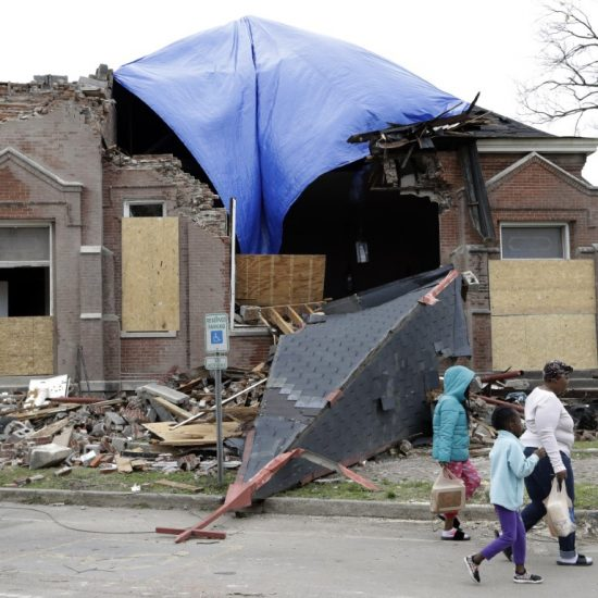 Hopewell Missionary Baptist Church, damaged by tornado