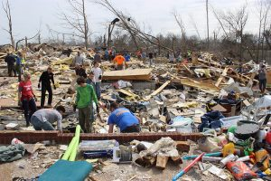 debris from destroyed home