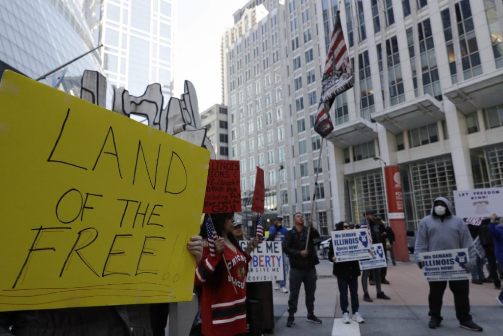 Protesters rally against Illinois stay-at-home order