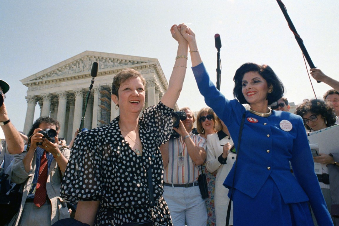 Norma McCorvey, Jane Roe in the 1973 court case, left, and her attorney Gloria Allred