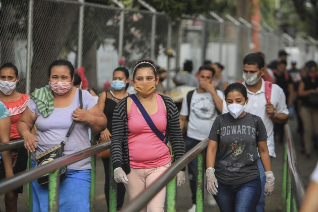 Workers wear masks  in Nicaragua