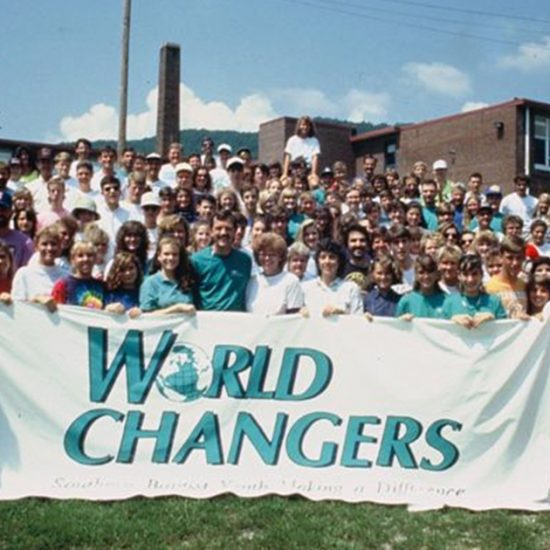 World Changers behind banner in 1990