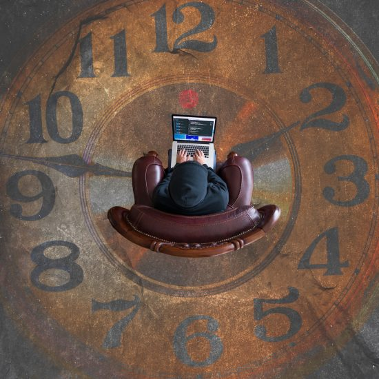 Person on clock face