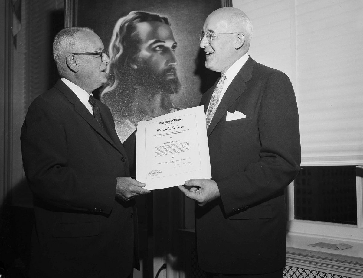 1957 Upper Room Award for World Christianity Fellowship to artist Warner Sallman