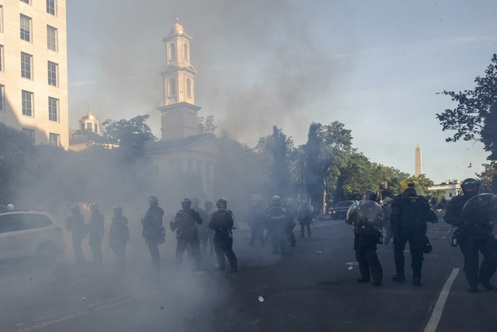Tear gas floats in the air